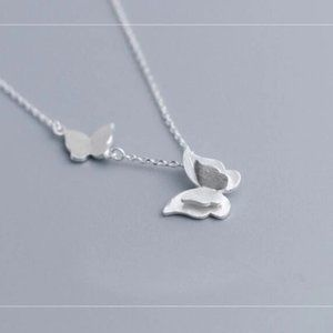 NEW 925 Sterling Silver Double Butterfly Necklace